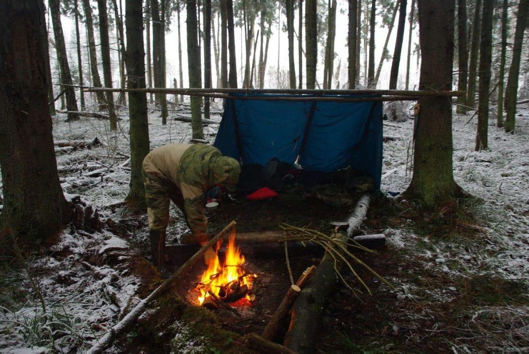 Как переночевать зимой в лесу