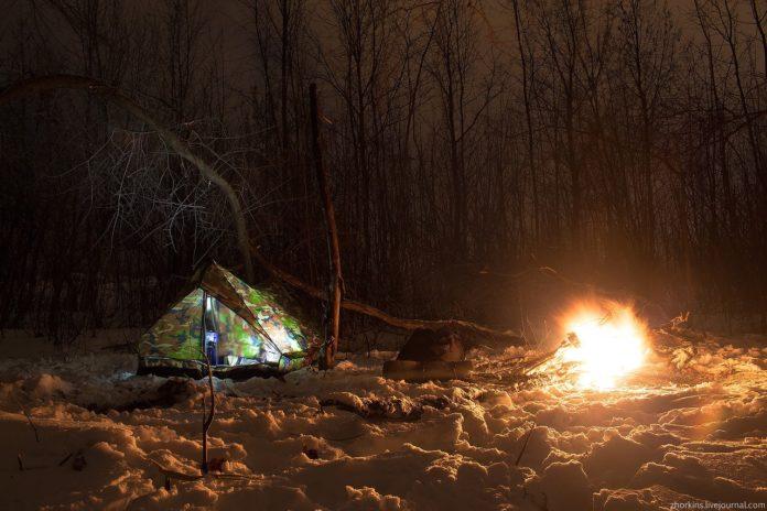 Ночевка в зимнем лесу