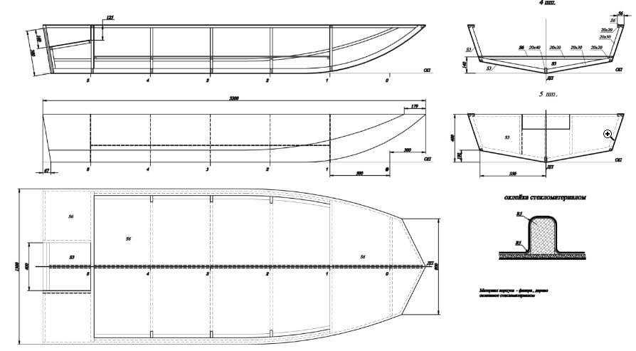 самодельные лодки из пенопласта чертежи