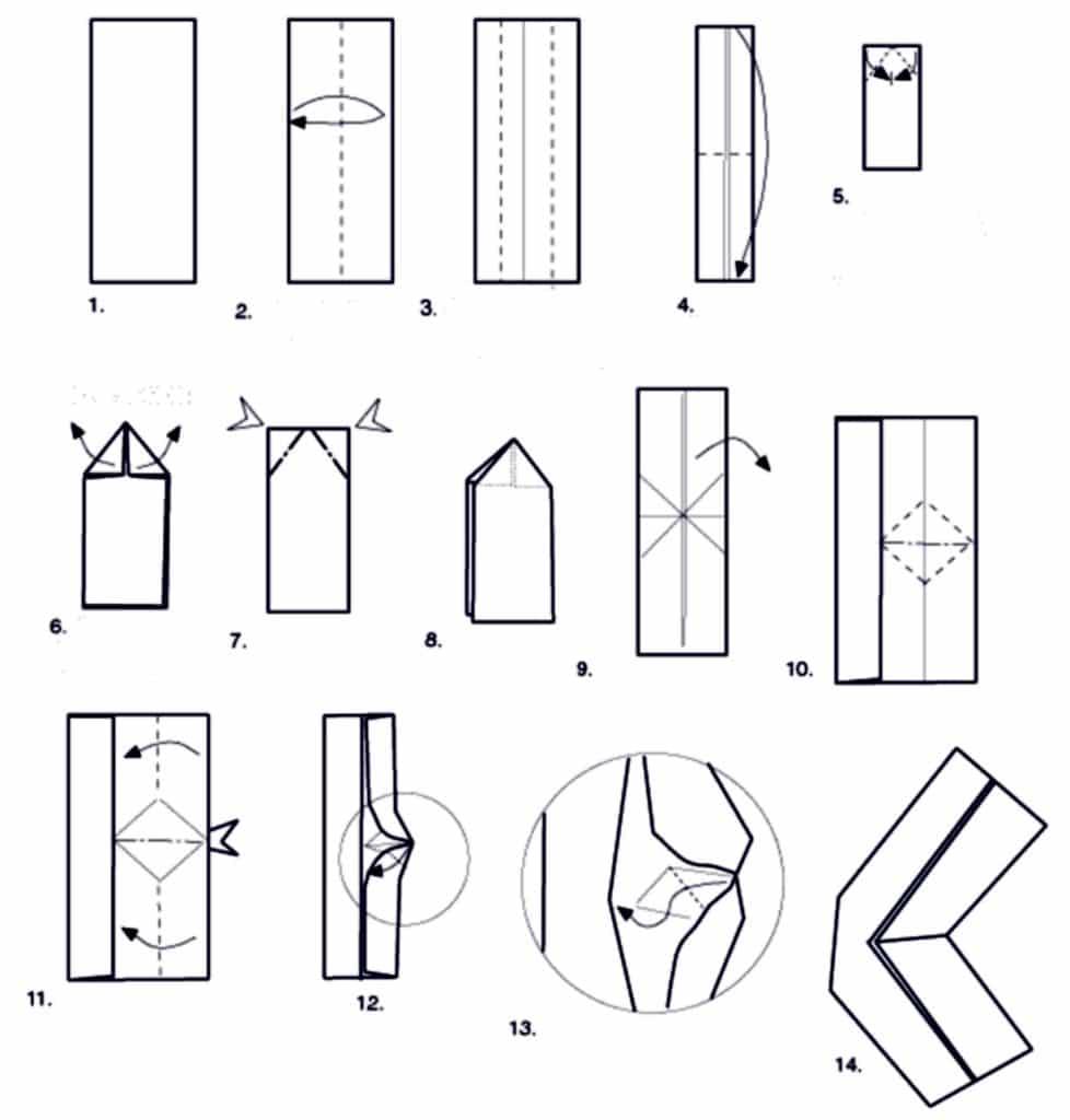 Схема бумеранга из бумаги