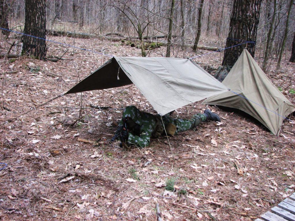 Плащ палатка как навес